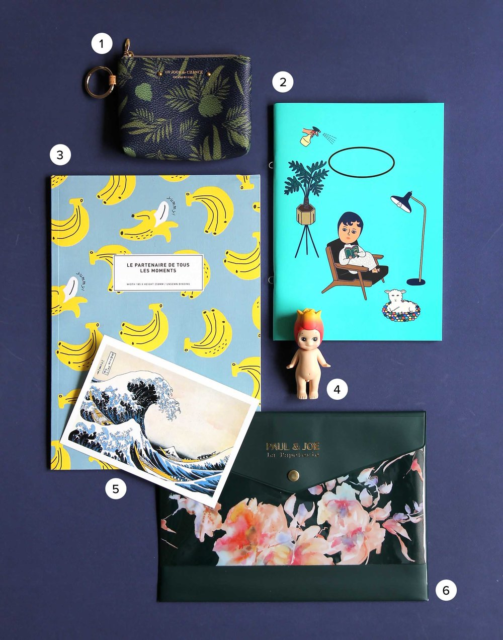 1. Iconic - Un Jour de Chance purse  from Sangsang (Hongdae, Seoul), 3.  Banana notebook from ArtBox (Hongdae, Seoul) ,  4. Sonny Angel Collectable Dolls-Flower Series (available globally) ,  5. Postcard from Sekaido (Shinjuku, Tokyo) ,  6. Paul & Joe Le Papeterie from Tokyo Hands