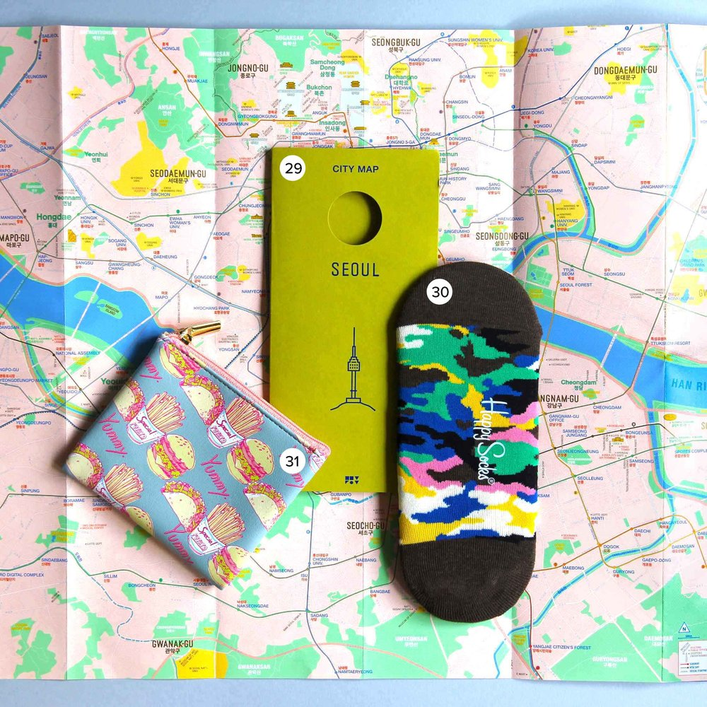 29. Seoul City Map by Zero Per Zero from SangSang (Hongdae, Seoul) , 30. Camo Happy Socks from some flagship store in Tokyo (sorry Aussie friends, I don't think these are available for AUS,   but I found similar ones at H&M!  ), 31. Fast Food purse, from a small gift wrapping type store in Tokyo.