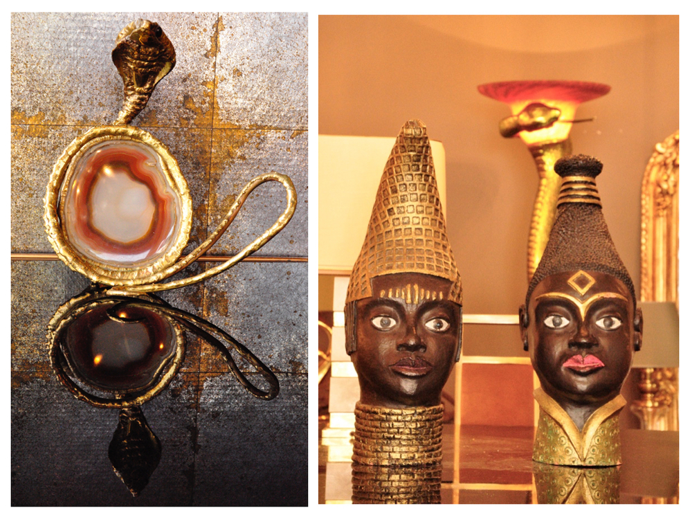 Slangenlampje van Henri Fernandez '70, organisch brons.Afrikaanse beelden, gemaakt door een Belgische kunstenaar. Op de achtergrond is een slangenlamp uit de '80 jaren zichtbaar naar een art deco ontwerp van Edgar Brandt uit de '20 jaren.