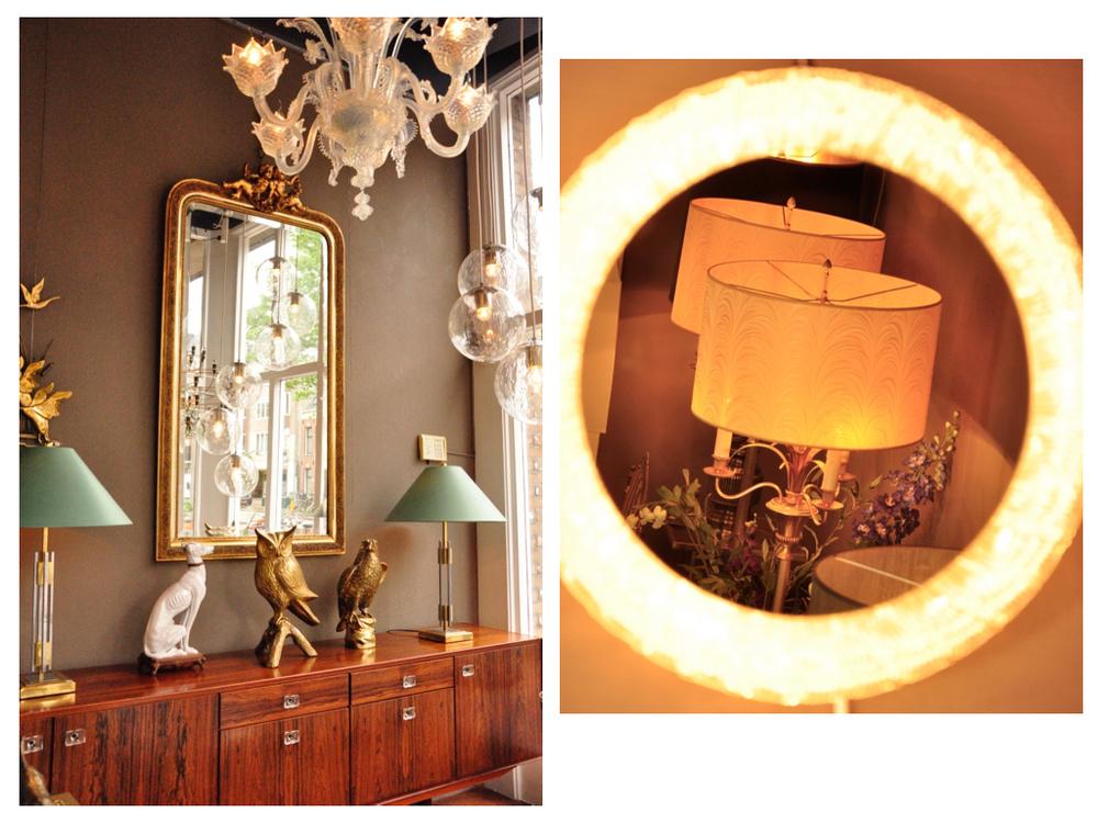 Een palissander dressoir uit 1965. Messing uil. Roofvogel vermoedelijk van Mauro Manetti. Tafellampen in de stijl van WIlly RIzzo en Romeo Rega. De grote gouden spiegel uit 1890, afgewerkt met goud bladmetaal. De bollampen van Nederlandse fabrikant Raak. De Venetiaanse kroonluchter is 6-arms, kleur opaline.Ronde, verlichte spiegel van Hillebrand, '60.In de spiegel 2 messing vloerlampen in de Maison Charles stijl '50.