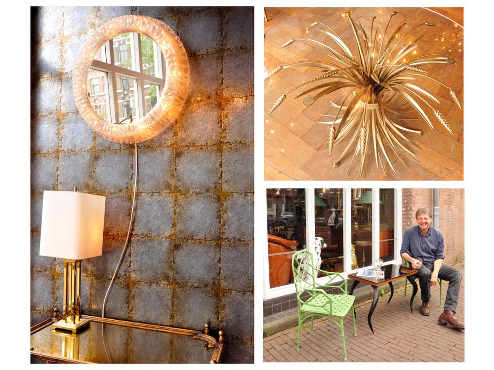 Een spiegel met een rand van lucite, '70.Een 'Coco Chanel'salontafel, samengebonden tarwe.Italiaans model uit de '70. Dankt zijn naam aan het feit dat  Coco Chanel een soortgelijke tafel in haar beroemde appartement had staat.David Heytze voor zijn winkel aan de Overtoom.