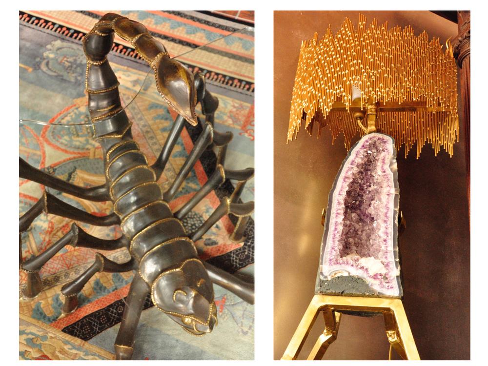Schorpioenen tafel ontworpen door Jacques Duval Brasseur. De lamp met amethisten poot ontworpen door Henri Fernandez.