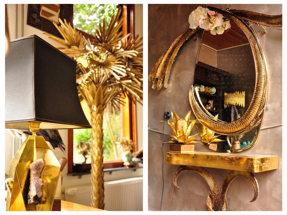 Messing lamp met amethist. Palm vloerlamp van Maison Jansen. De kaptafel is een ontwerp van Marc D'Haenens.