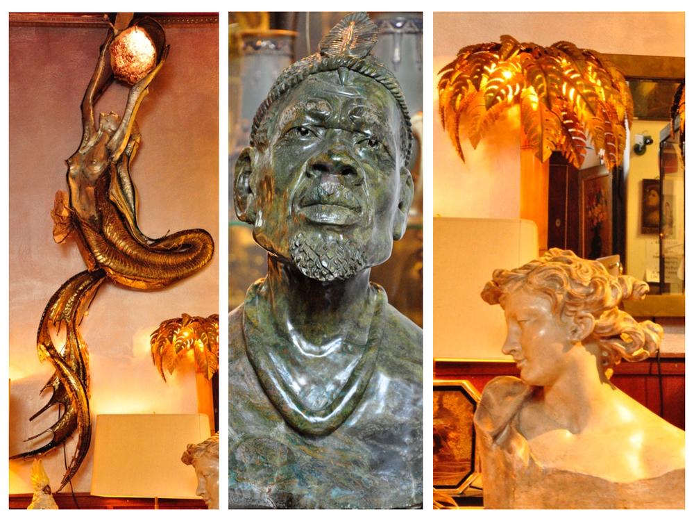 Messing zeemeermin met verlichtte amethist ontworpen door Marc D'Haenes. Mannelijk borstbeeld van Stanley Runyanga van verdite steen. Spiegel is van Maison Jansen. Ontwerper vrouwelijk borstbeeld onbekend.