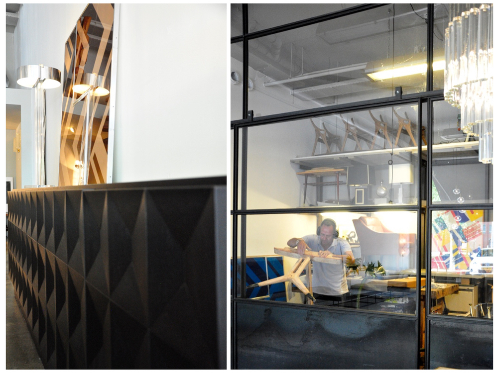 Mahonie dressoir in brutalist style, fabrikant De Coene België, '70. Bovenop dressoir large Lucite tafellamp in de stijl van George Kovacs gemaakt van dik acryl glas met gepolijst aluminium kap.De werkplaats achter in de winkel.