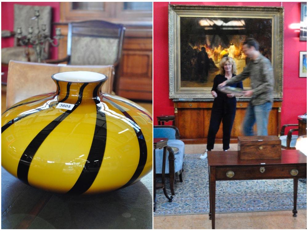 Glazen vaas, H28 cm.Richtprijs €50,- —€100,-.