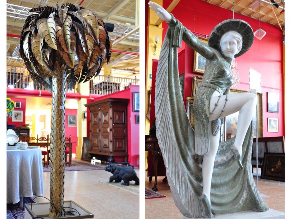 Bronzen Italiaanse palm lamp. Richtprijs € 400,- —€ 600,-.Marmeren sculptuur van dansende dame, H132 cm. Richtprijs €500,- —€1000,-.