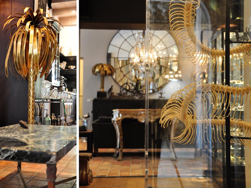 Een palmboom van Maison Jansen,een salontafel met een verde antico marmerenblad uit 1800.Op de voorgrond een geprepareerd skelet van een python.Op de achtergrond een grote spiegel gemaakt van een oud stalraam.
