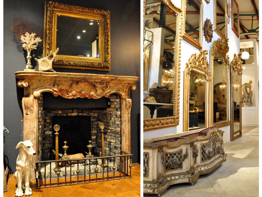 18e eeuwse Italiaanse barok schouw van marmer. Slechts een klein deel van de spiegelcollectie van Piet Jonker.