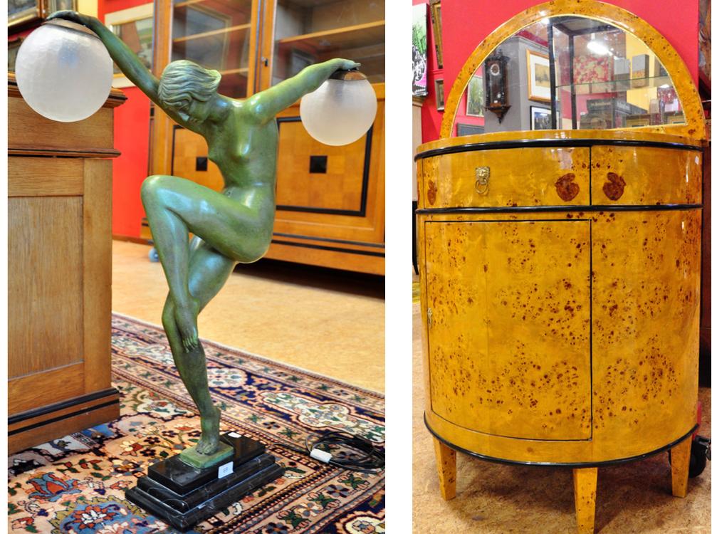 Schemerlamp van dansende vrouw met 2 lichtbollen, Art Deco-stijl. Richtprijs €400,- — €600,- Noten gefineerde toiletcommode richtprijs €200,- — €300,-