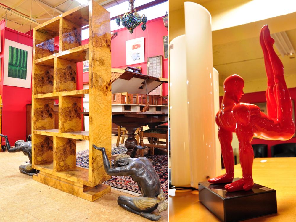 Thujahouten gefineerde boekenkast,richtprijs €200,- — €300,-. Knielende moren van brons. Onderdeel van een salontafel, glasplaat ontbreekt. Richtprijs; à tout prix. Rood kunststof sculptuur van turner,richtprijs €100,- — €150,-. Witte kunststof tafellamp Mezzachimera van Artemide.Richtprijs €100,- — €150,-.