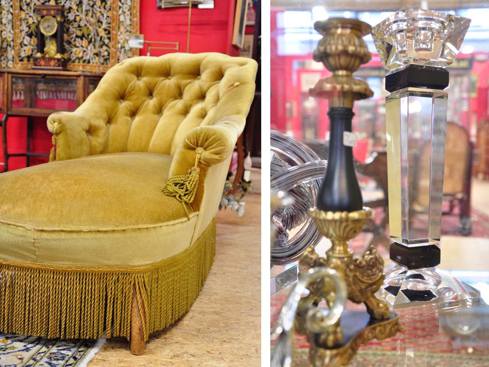 Chaise longue, groen velours bekleed. Richtprijs;à tout prix.Glazen kandelaars (2 stuks),richtprijs €50,- —€100,-