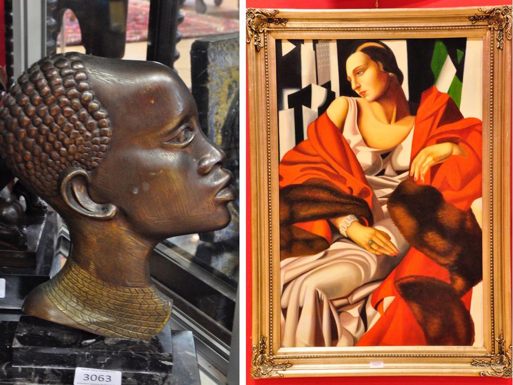 Bronzensculptuur, richtprijs €70,- —€90,-.Schilderij van Lempicka,richtprijs €100,- —€150,-