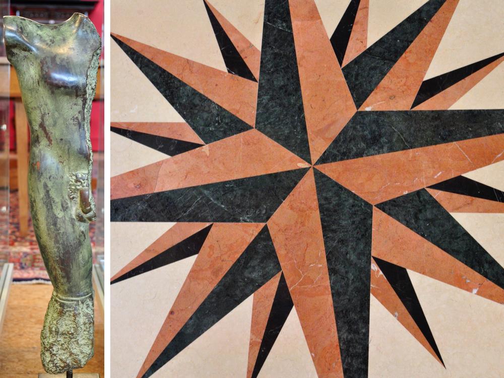 Bronzen sculptuur van mannelijk torso van J de Herder. Richtprijs € 200,- — €300,- Marmerenblad met klassiek metalen poot voor tuintafel.Richtprijs € 400,- — €600,-