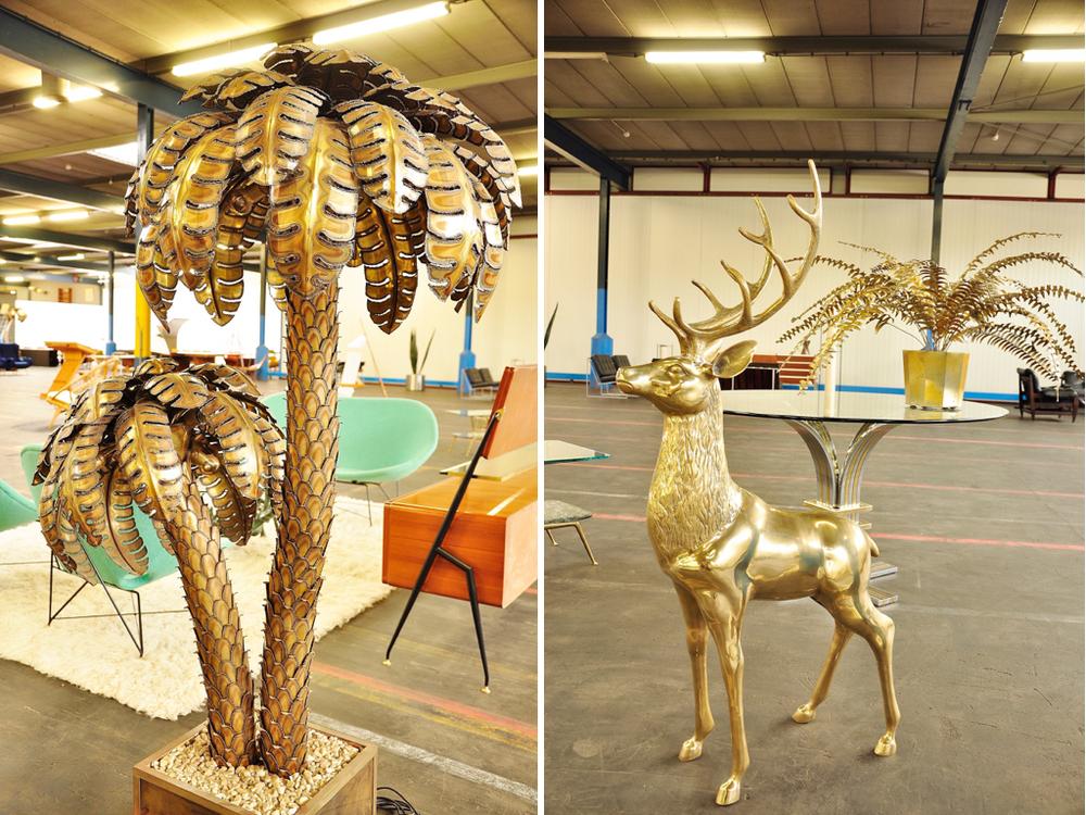 Palm lamp van Maison Charles, Frankrijk '70. Bronzen hert van 128 hoog, ontwerper onbekend.
