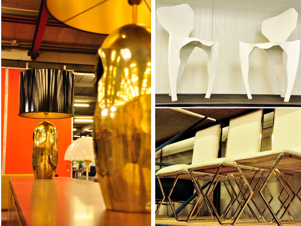 Bronzen, brutalist-stijl tafellampen ontworpen door David Marshall, Spanje '70. Wit gecoat metalen stoelen,ontwerp van Dennis SLootweg uit '98.Stoelen met geometrische, messing poten in de stijl van Willy Rizzo, '70.