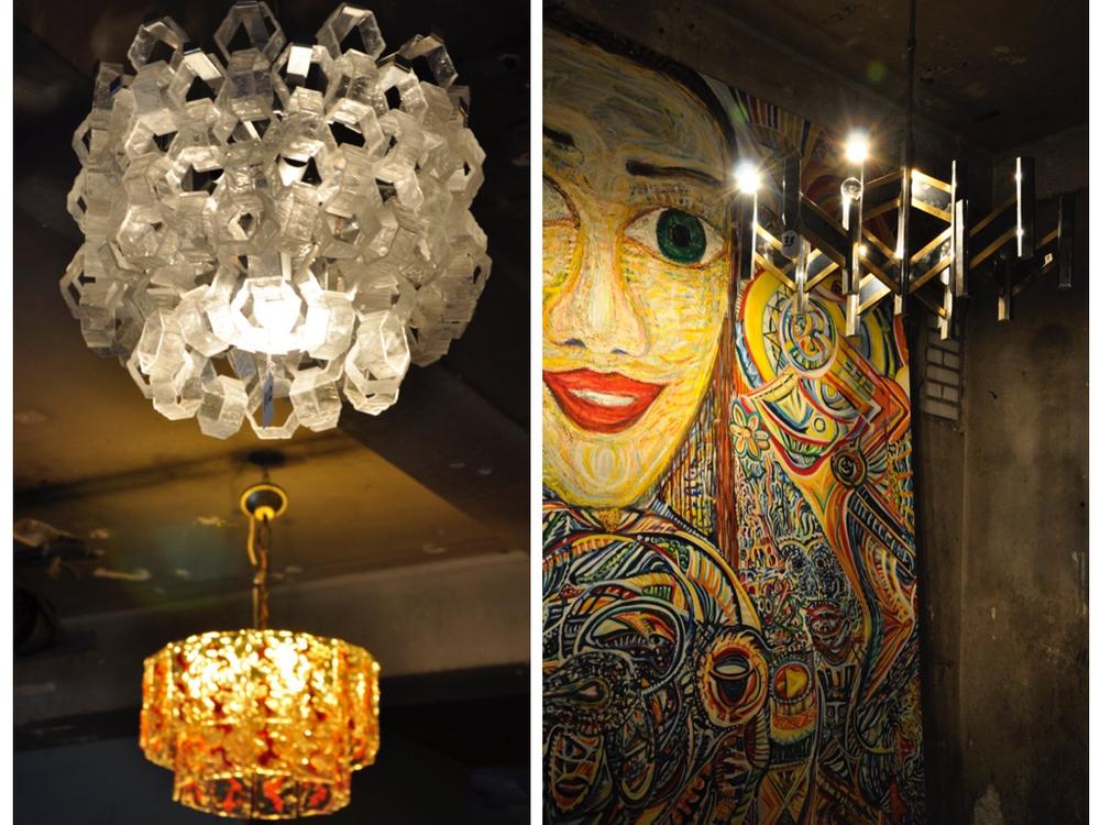 Lamp op de achtergrond is ontwerp van atelier Mazzega, lamp op voorgrond is van fabrikant Palwa.De lamp voor het schilderij is een ontwerp van Sciolari. Het kunstwerk is van P.P.J Berger.