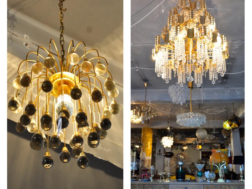Lamp met glazen bolletjes ontwerp van Sciolari evenals de kroonluchter rechts.