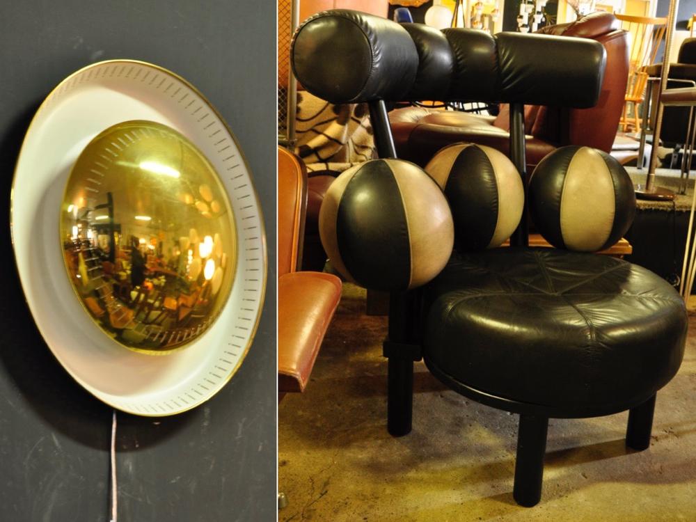 Wandlamp uit de jaren '50, € 495,- Limited edition: de Globe Chair ontworpen door Peter Opsvik voor Stokke '86-'88 Noorwegen. € 1895,-