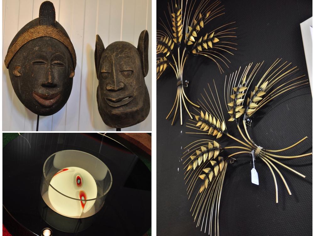 2 maskers uit Congo, jaren '60. Per stuk € 175,- Salontafel met glazenbol in het midden.Italië€ 1695,- Korenaren ontworpen door Curtis Jere, set € 295,-.