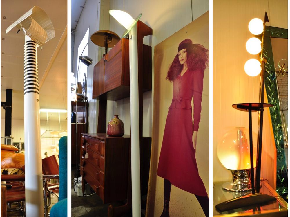 Vloerlamp Shogun ontworpen door Mario Botta voor Artemide,Italië 1986.€ 1495,- Vloerlamp (rechts)van Stilnovo, Italië€ 1695,-