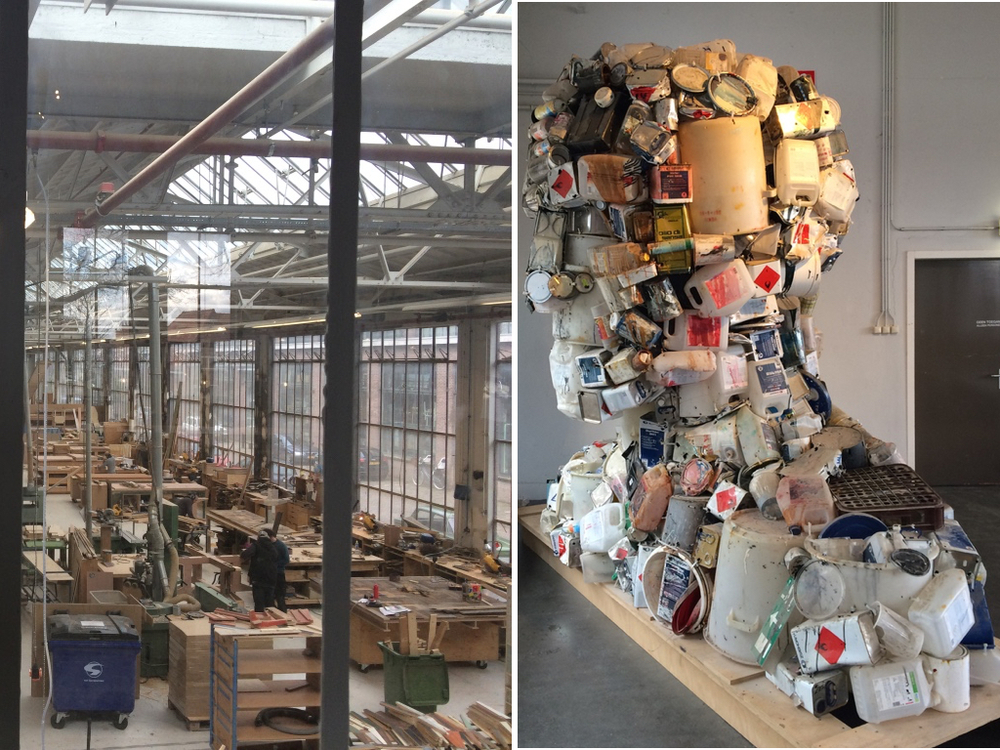 Werkplaats van Piet Hein Eek. Kunstwerk van afval, Piet Hein Eek.