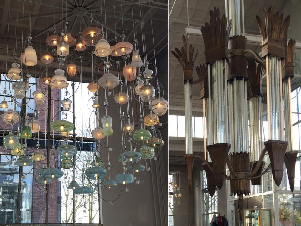 Lampen in het restaurant van Piet Hein Eek.