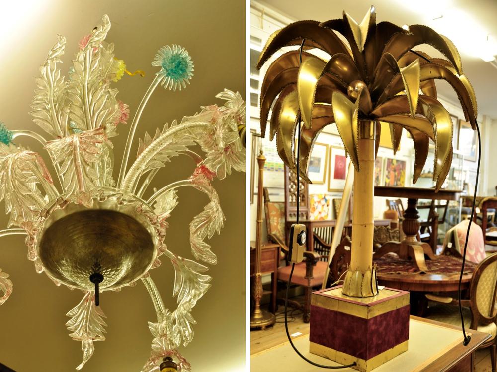 Palmboom tafellamp, ontwerp van Christian Techoueyers, fabricaat Maison Jansen '70. Richtprijs € 400-600