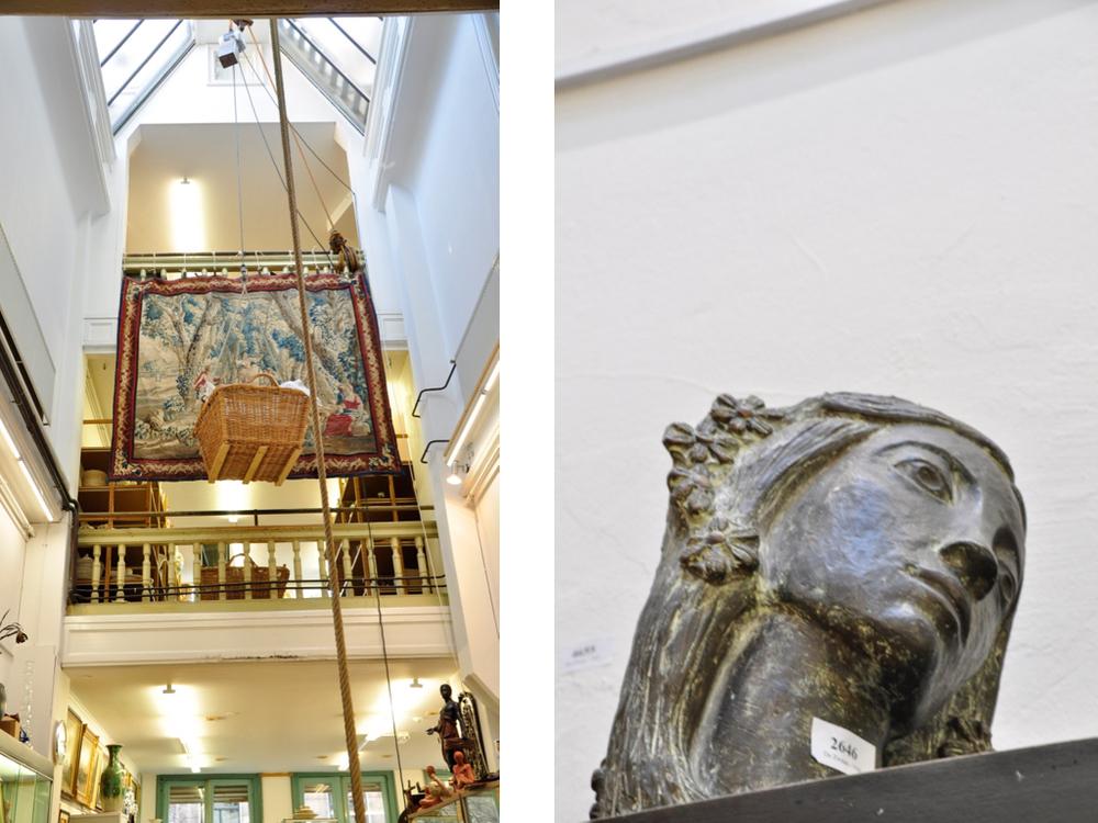 Hart van het veilinghuis. Bronzen sculptuur, meisjeskopje gesigneerd met monogram Ee, '60 Richtprijs € 400-600