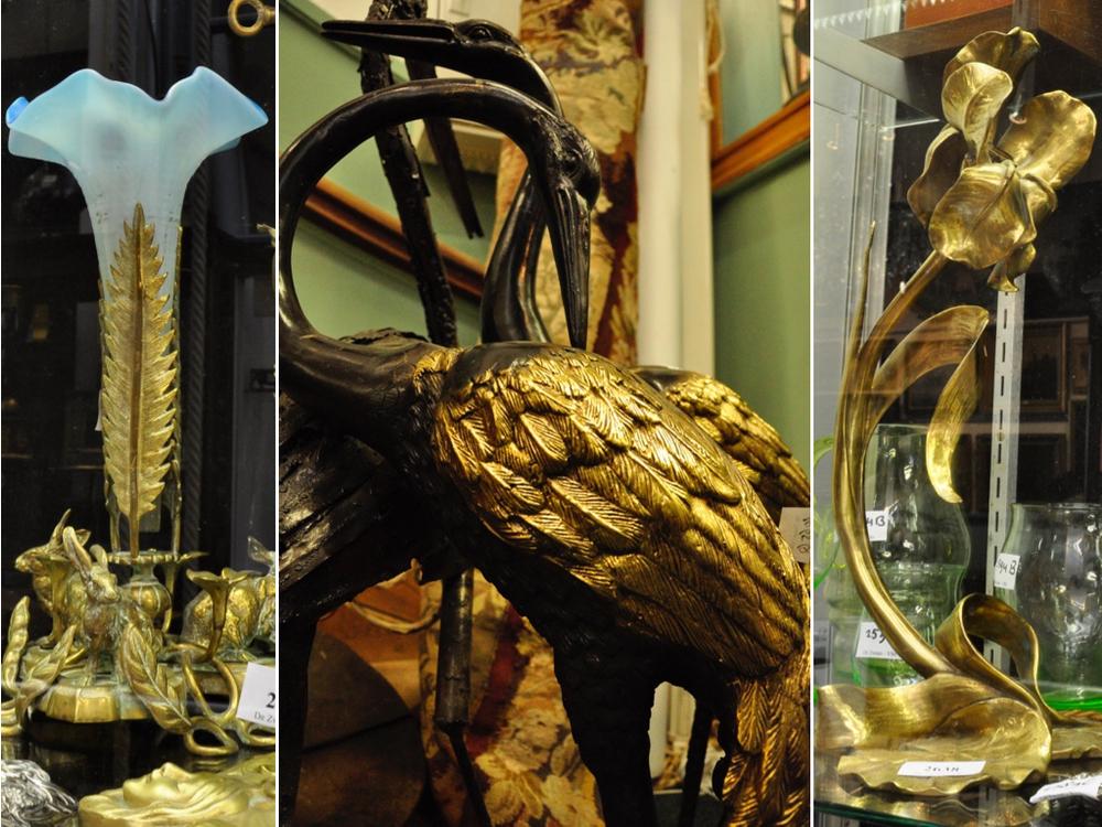 Koperen tafellamp, jugendstil (rechts).Richtprijs € 60-100 (voor 2). Bronzen kraanvogels.Richtprijs € 150-250.