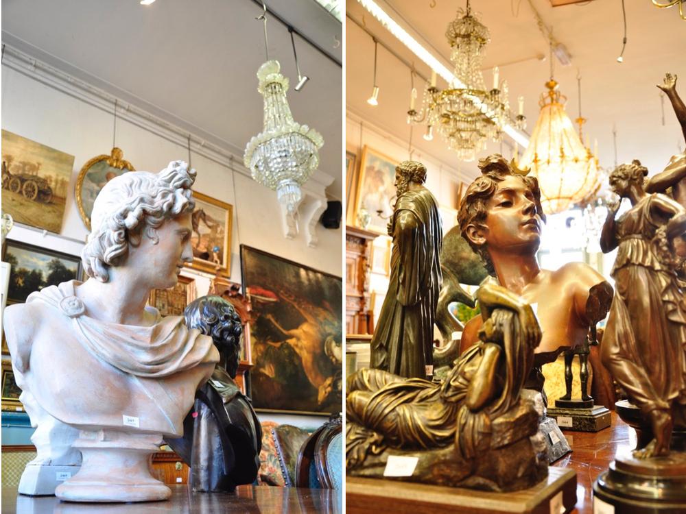 """Tappolo,terracotta klassieke buste.Richtprijs € 100-200. Ariadne, bronzen sculptuur kopie naar """"Vatican Sleeping Ariadne""""(liggende vrouw op de voorgrond).Richtprijs € 1000-1200.Diane, gepatineerd bronzen buste van Emmanuel Villanis.Richtprijs € 1000-1500."""
