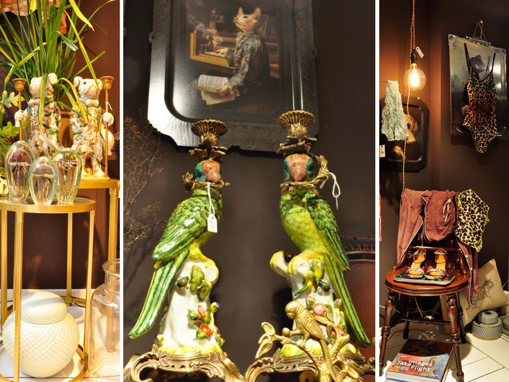 Papegaai kaarsenstandaard € 249,- per stuk.