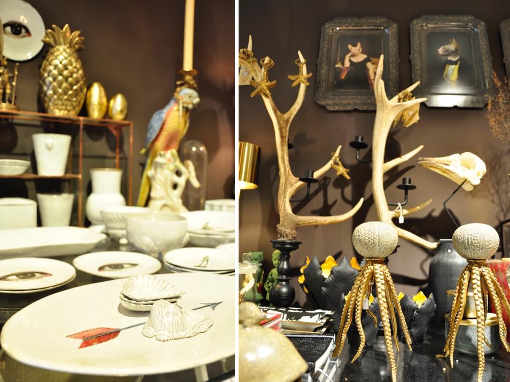 Servies, bord op de voorgrond € 109,-. Papegaai kaarsenstandaard €399,-. Octopus kandelaar €149,-. 'Gewei' kandelaar € 349,-.