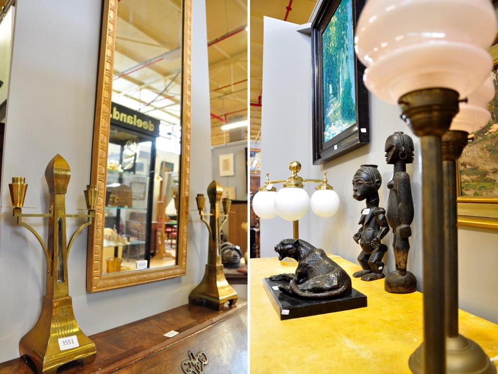 Set messing Jugendstil kandelaars, richtprijs € 150-€ 200. Damspiegel, in vergulde lijst richtprijs € 100-€ 150. Bronzen sculptuur van luipaard op marmeren voet, richtprijs € 100-€ 200. Twee Afrikaanse houten sculpturen, à tout prix. Set tafellampen met bronzen voet en roze glazen bolkap € 100-€ 150. Geelkoperen 3-lichts tafellamp met wit opaline bolkappen, richtprijs € 100-€ 150.