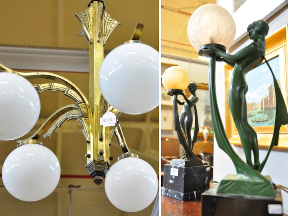 Koperen, 5-lichts hangkroon met witte bolkappen,€ 150-€ 250. Art deco-stijl tafellampen, vrouwfiguur met glazen bolkap, richtprijs per lamp € 100-€ 150.