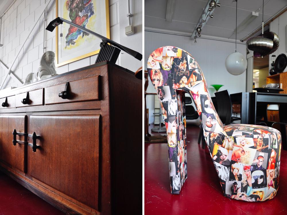 """Groot wit geglazuurd etalagebeeld in de vorm van een """"Sphinx"""", uitvoering de Sphinx, Maastricht ca.1935.Richtprijs €200,--€300,-.Bureaulamp """"Condor"""", ontwerp Hans von Klier 1988.Richtprijs €80,--€120,-.Eikenhouten Amsterdamse School buffetkast met coromandelhouten handgrepen,Nederland ca.1925.Richtprijs € 180,--€280,-. Pump stoel """"Lady Gaga"""", uitvoering Meubelco. Richtprijs € 80,--€90,-."""