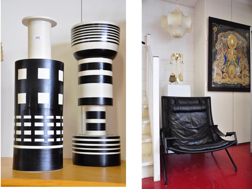"""Set van 4 aardewerk vazen, uitgevoerd in zwart en wit, """"Vaso Calice"""", """"Vaso Rochetto"""", """"Alzata"""" & """"Alzata Grande"""", ontwerp Ettore Sottsass 1991, uitvoering Bitossi, Montelupo / Italië.Richtprijs €2000,- -€2400,-.  Lounge chair DES2021 met zwart lederen bekleding, ontwerp  Gerard van den Berg  ca.1985, uitvoering Rohé/ Noordwolde.Richtprijs €240,- -€300,-.Cocoon hanglamp, ontwerp Achille & Pier Giacamo Castiglioni / Italië ca.1960.Richtprijs €360,- -€450,-."""