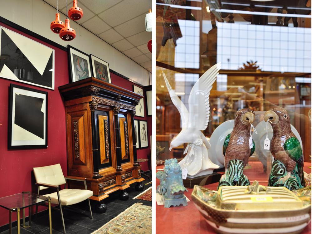 Meerdere werken van Toon Kelder (1894-1973), abstracte vorm, gouache op papier, dubbel gesigneerd en gedateerd XII '71 en M '71, 72,5 x 55 cm.Richtprijs per schilderij €500,-—€700,-.  Noten kussen/rankenkast met gestoken eiken ornamenten en gezwart houten delen, 201 x 192 x 74 cm. Richtprijs €400,-—€600,-.  Twee cascade hanglampen met ieder drie oranje keramische kappen, Herda, jaren '70.  Richtprijs: € 60-80.  Paar émaille sur biscuit beelden: papegaai op rotsblok, China, 19e eeuw, 23,5 x 15 x 10 cm.  Richtprijs:  € 1800-2200