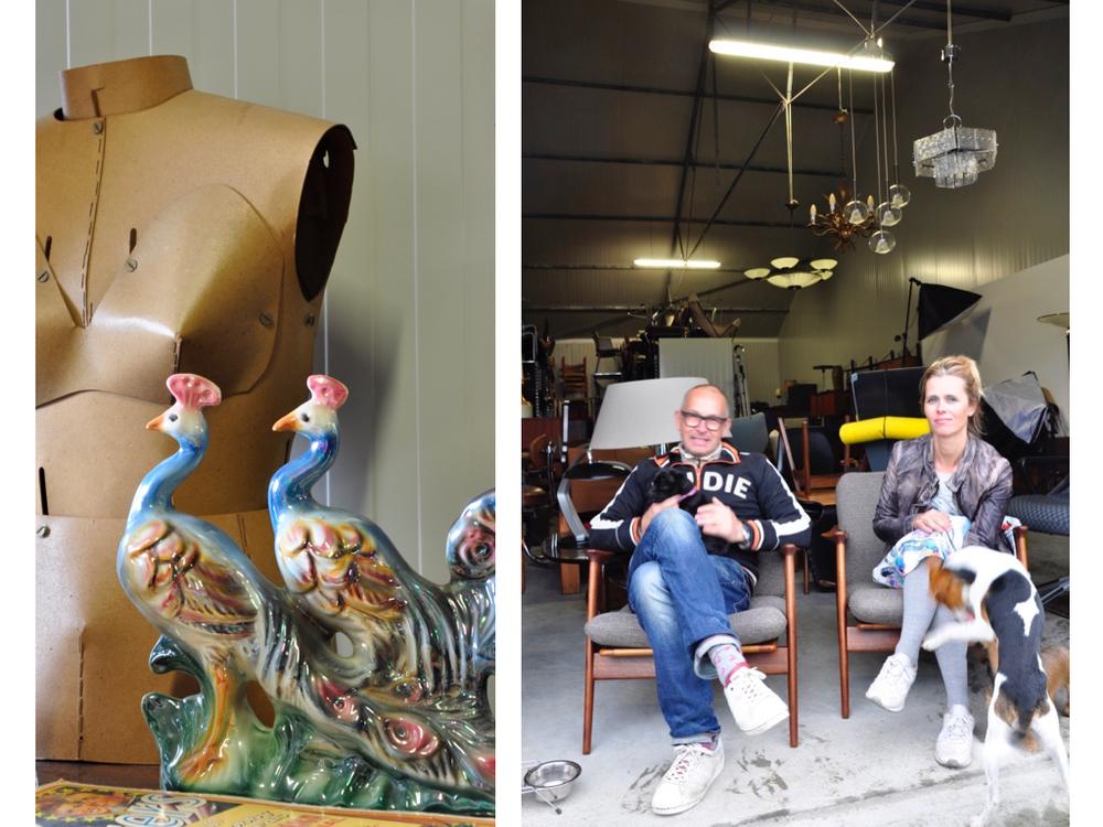 Paspop, af te stellen, van gelakt papier, niet te koop. Marc & Barbara voor hun meubelopslag op Scandinavische fauteuils '60, gereserveerd.                                   www.barbmama.nl