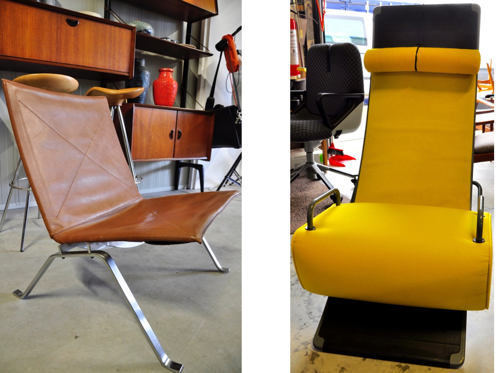 Leren fauteuil PK22 ontworpen door Poul Kjaerholm. Vroeg model in goede staat, achterkant gestikt.€ 4800,-. '80 Artifort Mobilis fauteuil ontwerp van Marcel Wanders, €995,-.