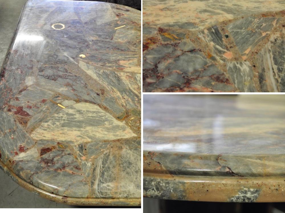 Paul Kingma's-stijl marmeren salontafel ingelegd met brons '80,€ 775,-.