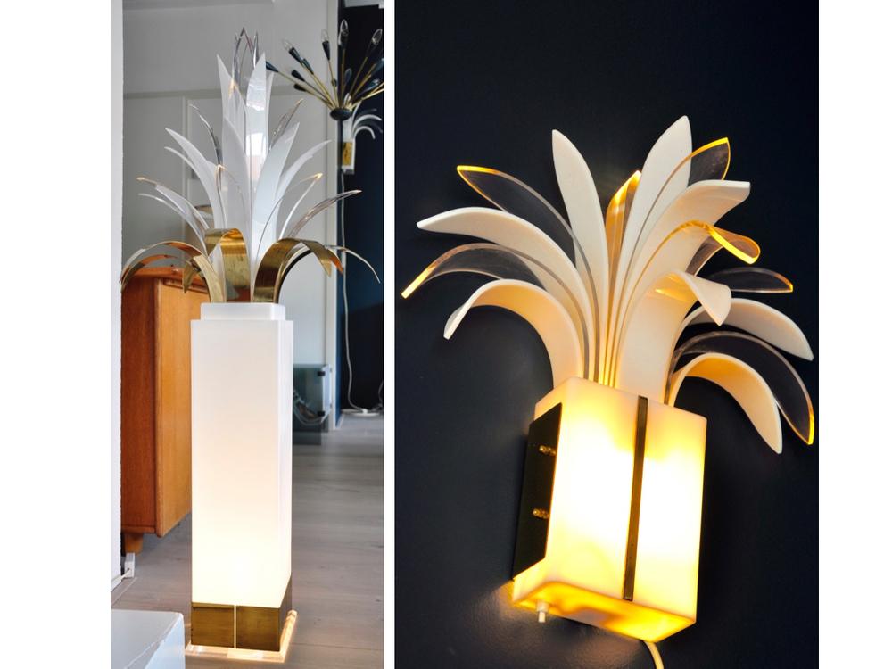 Vloerlamp ontworpen door Peter Doff in de jaren '70 voor Bergers design van messing en perspex. Wandlamp, ontwerp van Theo Verhulst in de jaren '80,€ 1100,-