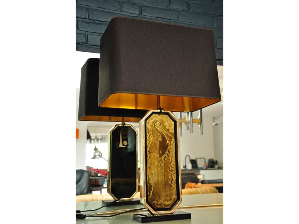 Tafellamp met voet ingelegd met 23 karaats bladgoud,ontworpen door de Belgische ontwerper Georges Mathias in de jaren '70.