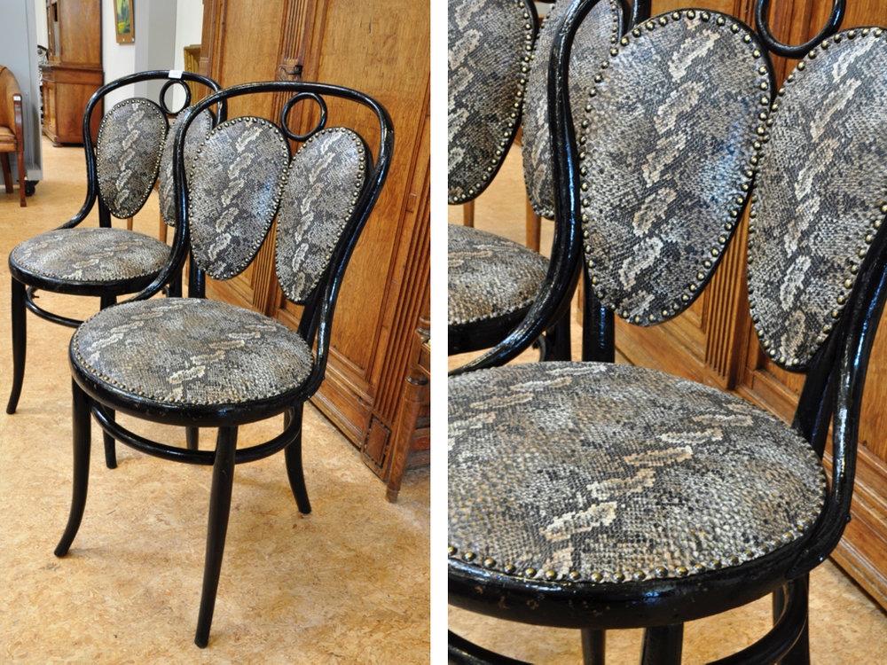 Set beukenhouten Thonet stoelen, Oostenrijk rond 1900,. Richtprijs € 400-600.