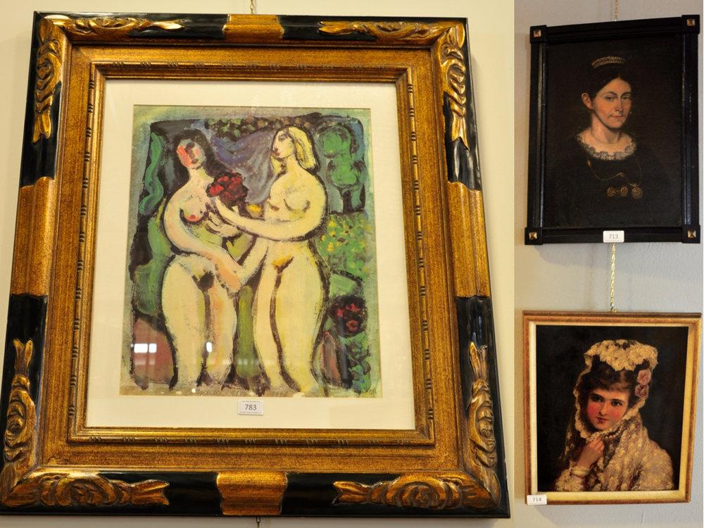 """Zeefdruk van Corneille """"Blonde et Brune"""" (49x40),richtprijs € 150-200. Portret van vrouw, ongesigneerd (38x27),richtprijs € 100-150. Portret van meisje, ongesigneerd (36x31),richtprijs € 150-200."""