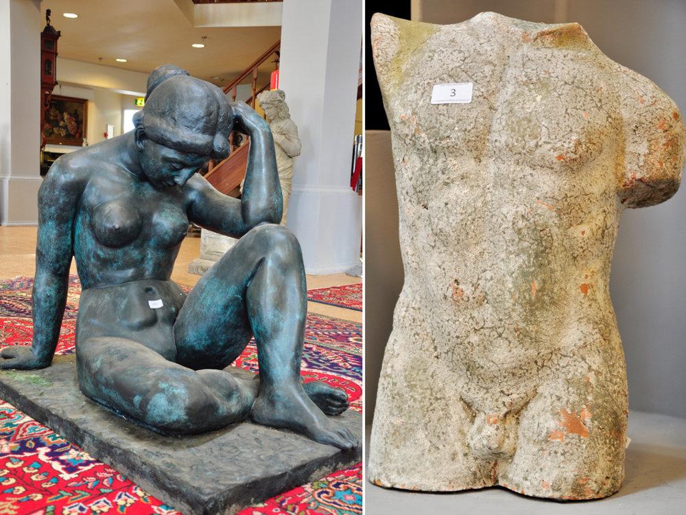 """Bronzen scultpuur van vrouw """"La Mediterrane"""" (90cm), richtprijs € 6000-8000. Terracotta mannelijk torso (46cm),richtprijs € 100-150."""