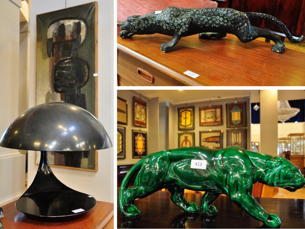 Kunststof Martinelli Luce Cobra tafellamp modelnummer 629 (38cm),richtprijs € 500-700. Bronzen sculptuur van tijger (14cm),richtprijs € 200-250. Groen geglazuurd aardewerk panter,richtprijs € 70-90.
