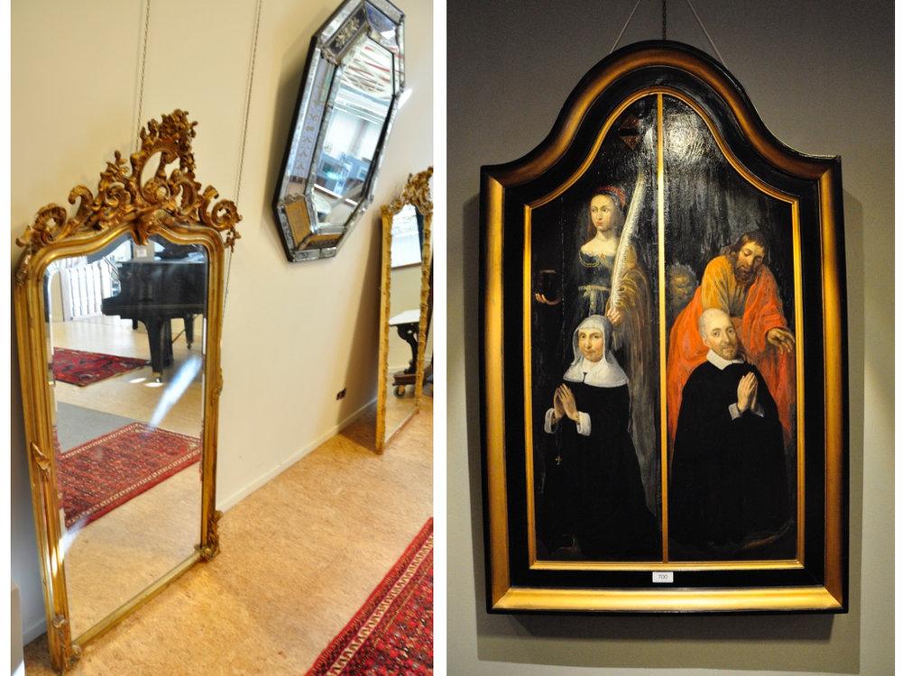 Verschillende spiegels,richtprijzen vanaf € 150. Portret van Jacoba de Goijer en Henrik Glauwe, paneel van een drieluik (90x50) van Eva van Marle (1650). Richtprijs € 2000-3000.
