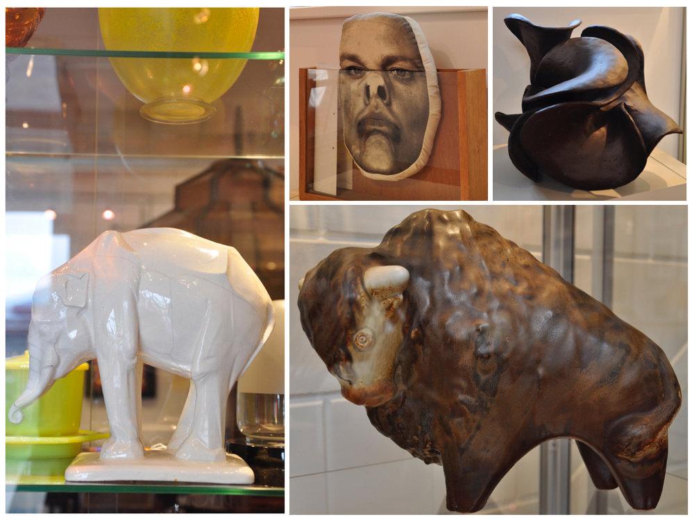 """Wit geglazuurde gegoten porseleinen sculptuur van een  olifant , ontwerp  Johan Coenraad Altorf (1876-1955)  1911, uitvoering  Chris Lanooy  / Gouda in een gelimiteerde oplage van max.12 stuks, schatting €2000-3000.Handgevormd aardewerk object """" Zonder titel """", ontwerp & uitvoering  Alexandra Engelfriet (1959 -) , in eigen atelier / Amsterdam 2007, schatting €300-400. Polychroom geglazuurd aardewerk  beeld  van een  bizon , ontwerp  Taisto Kaasinen (1918-1980) , uitvoering  Arabia  / Finland, schatting €260-320."""