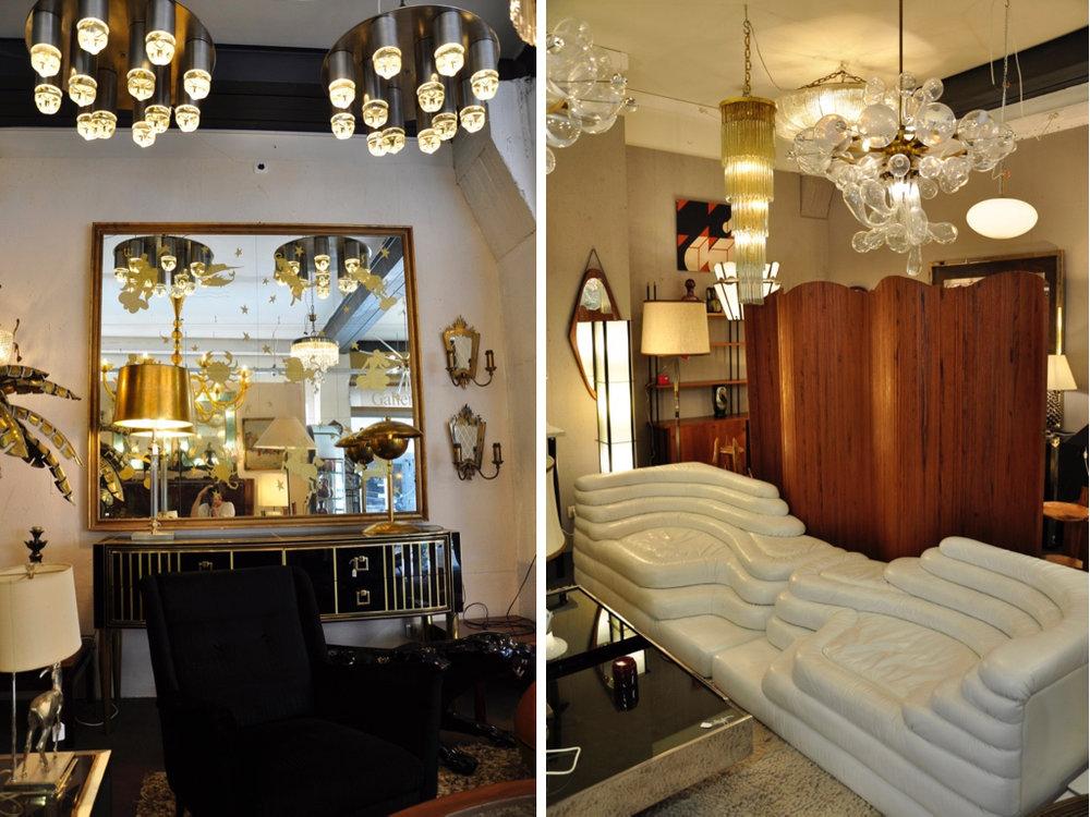 Italian sideboard. Plafond lampen links van Raak, '70. Wit leren Terrazza sofa DS 1025 ontworpen door Ubald Klug voor De Sede.